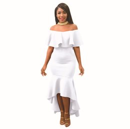 white dresses for girls casual UK - Boat Neck Ruffles High Low Elegant Evening Party Dresses for Women Off the Shoulder Long Skirt Ankle Length Casual Dresses for Girls