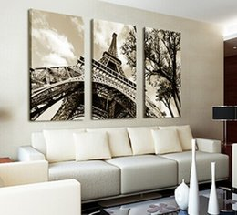 Discount paris room decorations - 3Pcs Set Modern Picture Canvas Painting Wall Pictures For Living Room Decoration Paris City Eiffel Tower No Frame