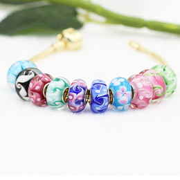 colored charms 2019 - Flower Cellection Colored Glaze Murano Glass Charm Bead 925 Silver Plated Fashion Women Jewelry European Style For Pando