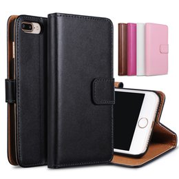 Iphone Phone Standing Cases Canada - For iphone 6 7 plus Real Genuine Leather Wallet Card Stand Phone Case Cover For I6 iphone7 5 6S 6Plus