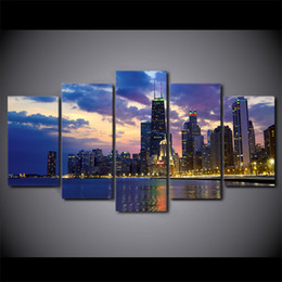 $enCountryForm.capitalKeyWord Canada - 5 Pcs Set Framed HD Printed Chicago City Evening Landscape Wall Canvas Art Modern Painting Poster Home Decor Decorative Picture