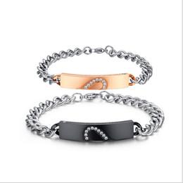 $enCountryForm.capitalKeyWord NZ - New Heart-Shaped Puzzle Jewelry Fashion Couple Bracelet Titanium Steel Rose Gold Diamond Bracelet CB-002