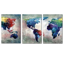 Discount world map prints canvas - 3 Panles Wall Art Canvas Painting Abstract Color World Map Picture Modern Artworks Map Painting for Home Decoration with