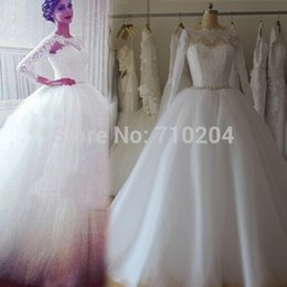 puffy real crystal wedding dress NZ - 100% Good Quality Real Photos Wedding Dresses Lace Long Sleeve Puffy Skirt Ball Gown Tulle Plus Size Country Bridal Gowns