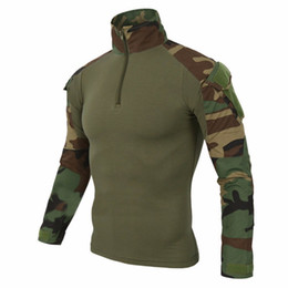 $enCountryForm.capitalKeyWord Canada - Airsoft Camouflage Combat Shirt Light Weight Rapid Assault Long Sleeve Frog Shirt with Removable Elbow Pads Tactical Shirt