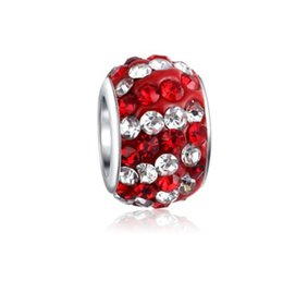 Bracelets Big Balls UK - Wholesale 10pcs Sterling Silver Red & White Clay Crystal Shambala Ball Charm Beads Big Hole For Pandora European Jewelry Bracelet Jewelry