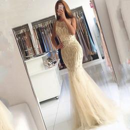 $enCountryForm.capitalKeyWord Canada - Elegant 2018 Evening Dresses Vestidos De Fiesta Scoop Neck Appliqued Beaded Pearls Sleeveless Mermaid Champagne Prom Gowns