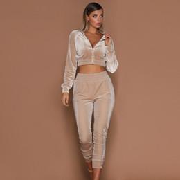 Wholesale pink cropped jacket for sale – custom Velvet Set Women Tracksuits V Neck Long Sleeve Short Crop Jacket Hoodies Slim Sweat Suits Tracksuit Two Pieces Sportswear Autumn