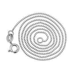 $enCountryForm.capitalKeyWord Canada - Silver Box Chians Hot Sale 1mm Link Chain Necklace for Women Girl Pendants Fashion Jewelry Wholesale Free Ship 0356WH