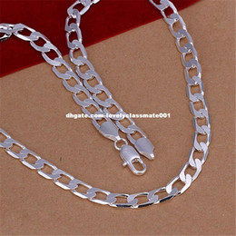 silver men nice chains Canada - Mens 8MM flat nice noble women men chain charm silver plated hot sale gift Necklace Fashion Jewelry N034