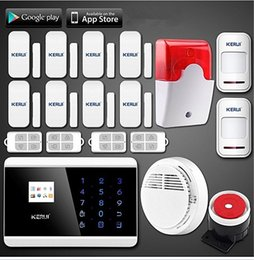 Android Home Security System Canada - LS111- Android APP Touch Screen Keypad panel+LCD display Wireless GSM PSTN Home Security Burglar Voice Smoke Sensor Fire Alarm System