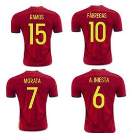 388456a6f hot sale Spain Euro jersey 2016 INIESTA RAMOS home red away white FABREGAS  COSTA SILVA ISCO top quality spain football shirt soccer jersey cheap euro  ...