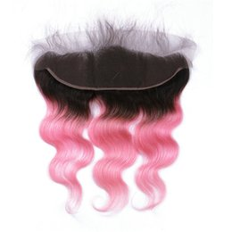 Discount 1b pink human hair - Free Middle Three Part Full Lace 13x4 Frontal Closure With Baby Hair Body Wave 1B Pink Ombre Human Hair Ear to Ear Front