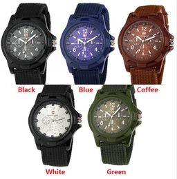 $enCountryForm.capitalKeyWord NZ - 1000pcs Luxury Analog Swiss Gemius Army Watch Cloth Fabric Wristwatches Sport Military Style Wrist Watches for Geneva quartz Men Watches