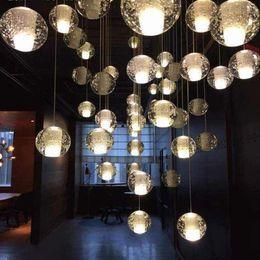 Led كريستال زجاج الكرة قلادة مصباح نيزك المطر ضوء السقف نيزك دش درج شريط droplight الثريا الإضاءة ac110-240v
