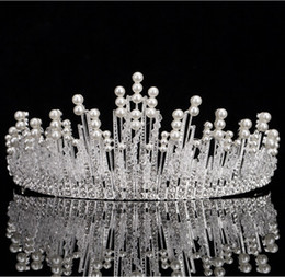 high fashion hair tiara NZ - New Fashion High Quality Alloy Pearls Bridal Crown 2017 For Women Pageant Prom Tiaras Headdress Hair Wear Jewelry