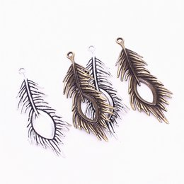 $enCountryForm.capitalKeyWord UK - Sweet Bell Min order 10pcs 28*71mm two color Metal Zinc Alloy Trendy Peacock Feathers Charms Findings Pendants Jewelry Making D1209