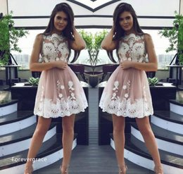 Dresses Size Juniors Canada - 2017 Sexy Sheer Lace Appliqued Short Homecoming Dress Vintage A Line Juniors Sweet 15 Graduation Cocktail Party Dress Plus Size Custom Made