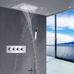 steel walls panels UK - 360*500mm LED Ceiling Shower Head Rain Waterfall Shower Massage Jets Wall Mounted Panel Tap Sets Thermostatic Mixer