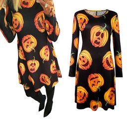 Robe De Soirée Sexy Xl Pas Cher-Fashion Summer Autumn Casual Dress Vestidos Pumpkin Print Femmes Sexy Long Sleeve Party Vêtements pour Halloween Robe