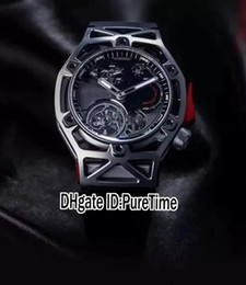 Discount rubber tourbillon - Best Version Techframe LaFerrari P485 Design All Black Automatic Tourbillon Mens Watch 70th Years Limited Edition Rubber