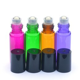 Wholesale Colorful ml OZ ROLL ON GLASS ESSENTIAL OIL BOTTLE Perfume stainless steel Roller ball fragrance bottle