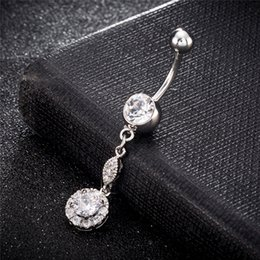 clear belly rings UK - Summer Style Jewelry Clear CZ 18K White Gold Navel Rings Bar Long Dangle Belly Button Piercing Jewelry for Women