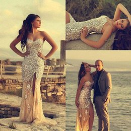 Barato Vestido De Formatura De Sereia De Champanhe Sem Alças-Hot Sale Mermaid Champagne Chiffon Crystal Evening Dresses Sweetheart Slit Sweep Train Sexy Prom Vestidos Strapless Gorgeous Evening Gowns ..