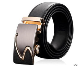 Belts Piece Canada - 2 Pieces Genuine Leather Gold Men Belts Automatic Alloy Buckle Designer Belt For Men Business Fashion Brand Luxury Belt Waistband