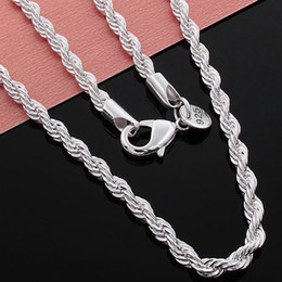 925 Sterling Silver Chains 24inch NZ - Top Quality 925 Sterling Silver Men Women Twist ROPE Chain Necklaces 2MM 16inch 18inch 20inch 22inch 24inch