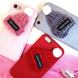 Discount apple 6plus - wholesale newest Korea fashion cartoon knitted hat christmas cap winter warm plush cell phone case cover For Iphone6 6s