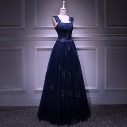 Really Dresses Australia - Really Photo Navy Blue Tulle With Embroidery Beaded Square Collar Tank Bakless Lace Up Floor Length Plus Size Ball Gown Prom Party Dress
