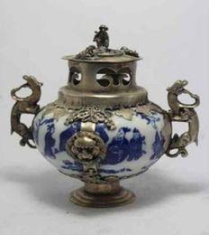 Black Chinese Porcelain UK - CHINESE HANDWORK PAINTING DRAGON LION OLD PORCELAIN INCENSE BURNER