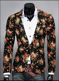 Boutons De Costume Personnalisés Pas Cher-Personnaliser Floral Blazers For Men Lapel Neck Slim Single Button Men Shiny Suit Blazer Coton Casual Party Hommes Costumes J160438