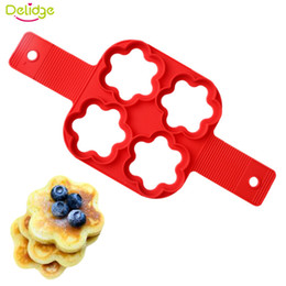 Mold Stick Canada - Delidge 10 pc 4 Holes Flower No Stick Flippin Egg Pan Mold Silicone Egg Pancake Biscuits Breakfast Production Tool Kitchenware