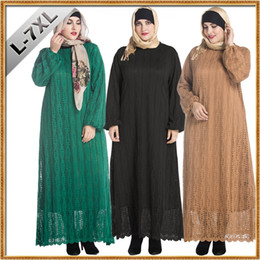 fat lace sleeves Canada - L-7XL Full Sleeve Plus Size Women Clothing Muslim Fashion Lace Middle East Fat Women Dress Casual Long Dresses Vestidos