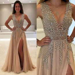 Vestidos De Champán De Chocolate Baratos-Real Photo Major Beaded Side Split Prom Dresses Crystal Deep V Neck Una línea de vestidos de noche Champagne Hunter Tulle Talla grande Vestido de fiesta