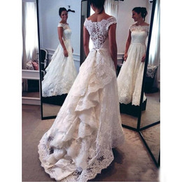 white short front long wedding dresses Australia - Lace Bateau Neck Capped Sleeves Wedding Dresses 2017 Vintage Front Short Long Back Button Back Illusion Bridal Gowns China Customized