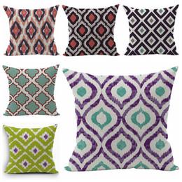 Ethnic Decor Canada - ethnic sofa throw pillow case boho almofada ikat home decor cushion cover 45cm cotton linen almofadas christmas decorations