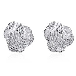 Wholesale wedding earring Sliver Plated Jewelry Braided Ball Stud Earrings for Women Silver Earings Studs Braided studs fashion jewelry