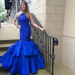 Barato Vestido Elegante Mini Luxo-Vestido De Festa Luxo New Fashion Prom Gowns Royal Blue Mermaid Prom Dress Elegante Sequin Beading Long Evening Dresses