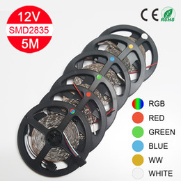 Wholesale 5M Led Strip Light SMD 2835 60led M 300LEDs Flexible Led Light String RGB Red Blue Green White for Christmas party free shipping