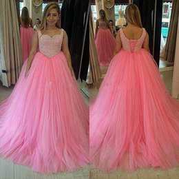 $enCountryForm.capitalKeyWord NZ - 2017 New Pink Beaded Ball Gown Prom Dresses Corset Back Tulle Wear Sweep Train Mermaid Gorgeous Evening Gowns Cheap Formal Dress Real Image