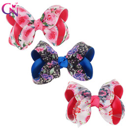 "kids hair pieces accessories 2019 - 12 Pieces  Lot 4 .5 ""Floral Hair Bows With Clips For Kids Girls Boutique Flower Printed Ribbon Bows Hairgrips Hair"
