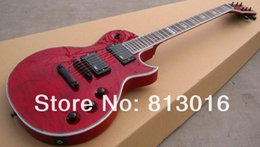 Red top electRic guitaR online shopping - Custom LTD EC Deluxe Red Crimson Quilted Maple Top Electric Guitar EMG Pickups Black Hardware Abalone Body Binding Top Selling