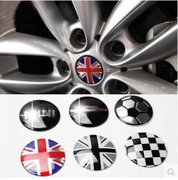 mini door stickers 2019 - Styling Jack Union Checker Wheel Center Hub Cap Stickers Emblem 52MM for MINI Cooper One S R55 R56 R57 R58 R59 R60