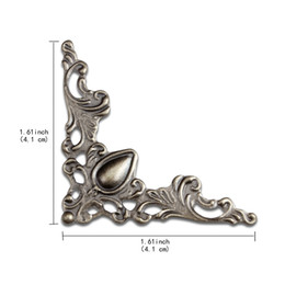 Barato Guardas De Canto De Mesa-Mobiliário Decorativo Tampa de borda Vintage Decor Box Corner Protector Metal Box Corner Guard Desk Edge Cover Corner Decorative