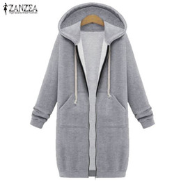 Barato Longo Zip Hoodies Para As Mulheres-Atacado- Oversized 2017 Outono ZANZEA Mulheres Casual Long Hoodies Sweatshirt Casaco Bolsos Zip Up Outerwear Jaqueta com capuz Top Size Tops