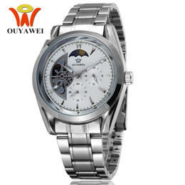 ouyawei wristwatches NZ - 2017 in New OUYAWEI Brand Mechanical Hand Wind Mens Watch Wristwatch Luxury Stainless Steel Band White Dress Fashion Watches Reloj Masculino