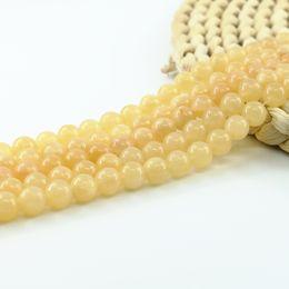 Nature Jaune Jade Perles pierres précieuses perles semi-précieuses Fournitures pour bijoux bricolage Faire 4/6/8/10 mm Plein Strand 15 pouces L0155 # en Solde